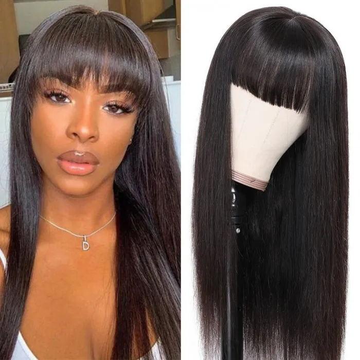 Virgin straight human hair wig