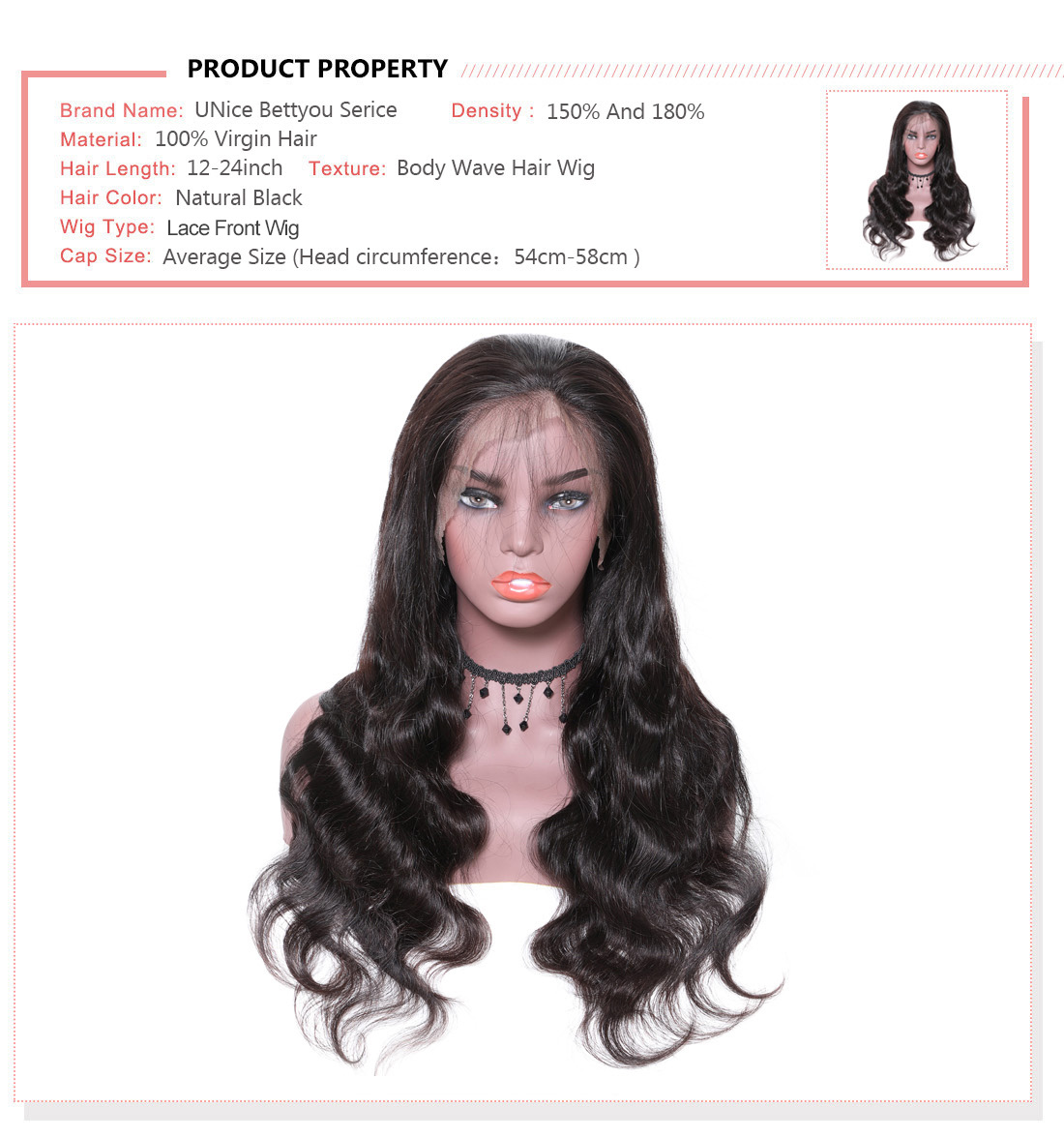 UNice Hair Bettyou Wig Serices 100% Virgin Hair Soft Long Body Wav Wig Density 150% And 180%